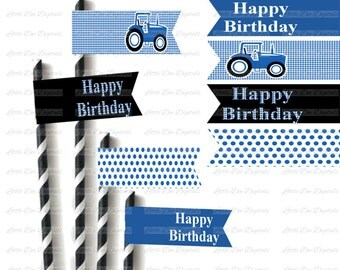 Printable Blue Tractor Straw Flags - 4 Designs - DIY Tractor Party Decorations - Instant Download