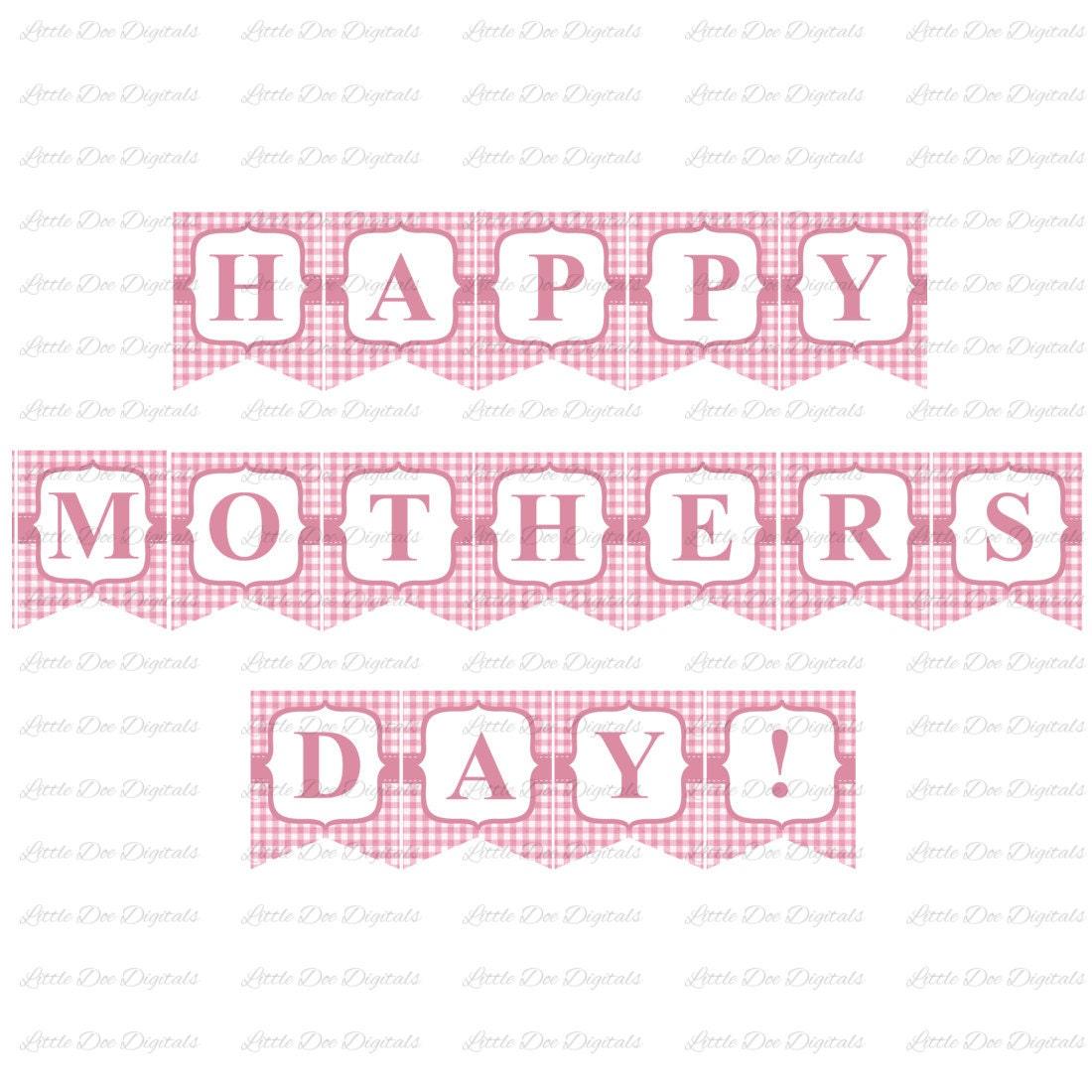 printable happy mother 39 s day pink gingham banner sign. Black Bedroom Furniture Sets. Home Design Ideas