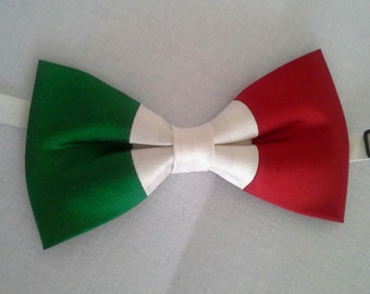 Italy ltalian flag bowtie Olympic games athletics sports patriotic national wedding dupioni silk bow tie Rio 2016