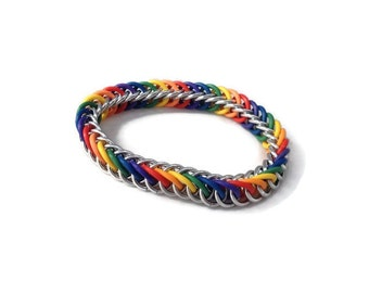 Rainbow Bracelet - Chainmaille Pride Bracelet - Stretchy Chainmaille Bracelet