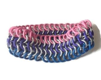 Bisexual Pride Bracelet - Stretchy Bi Pride Cuff - Pink, Purple and Blue Elastic Bracelet