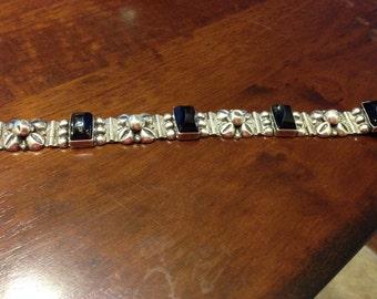 Black Onyx & sterling silver bracelet