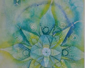 Green Fairy Mandala Original Water-colour 7x11