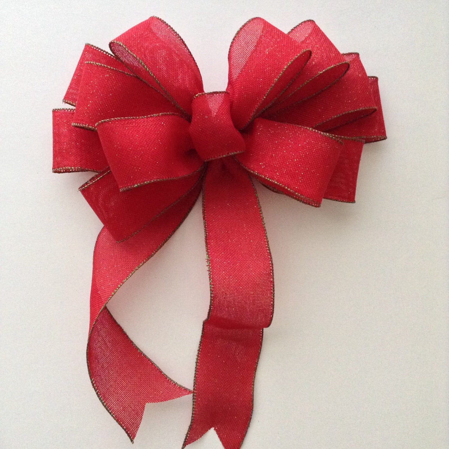 Christmas red burlab wreath bow