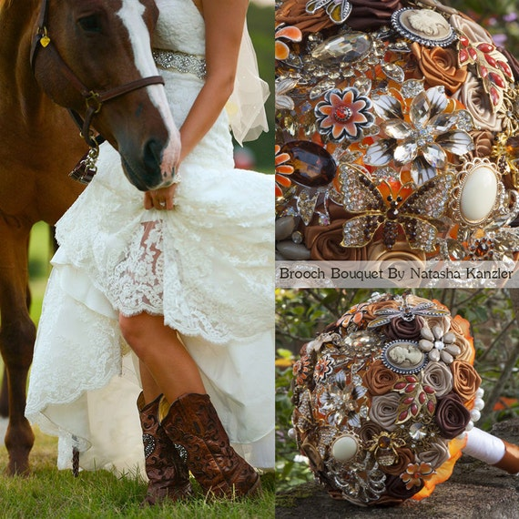 Autumn Rustic Chic Vintage Wedding Brooch Bouquet, Western Cowboy Wedding.