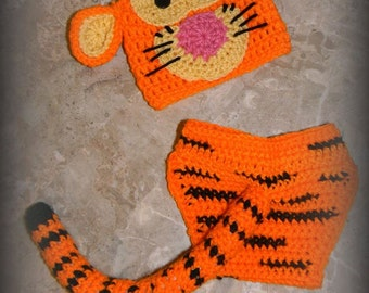Crochet Finished Tigger Newborn Photo Prop