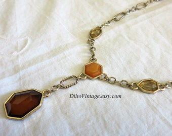 Vintage Avon Multi Colored Stone Necklace, Patterned Silver Tone Chain, Chain Necklace, Brown, Orange, Yellow