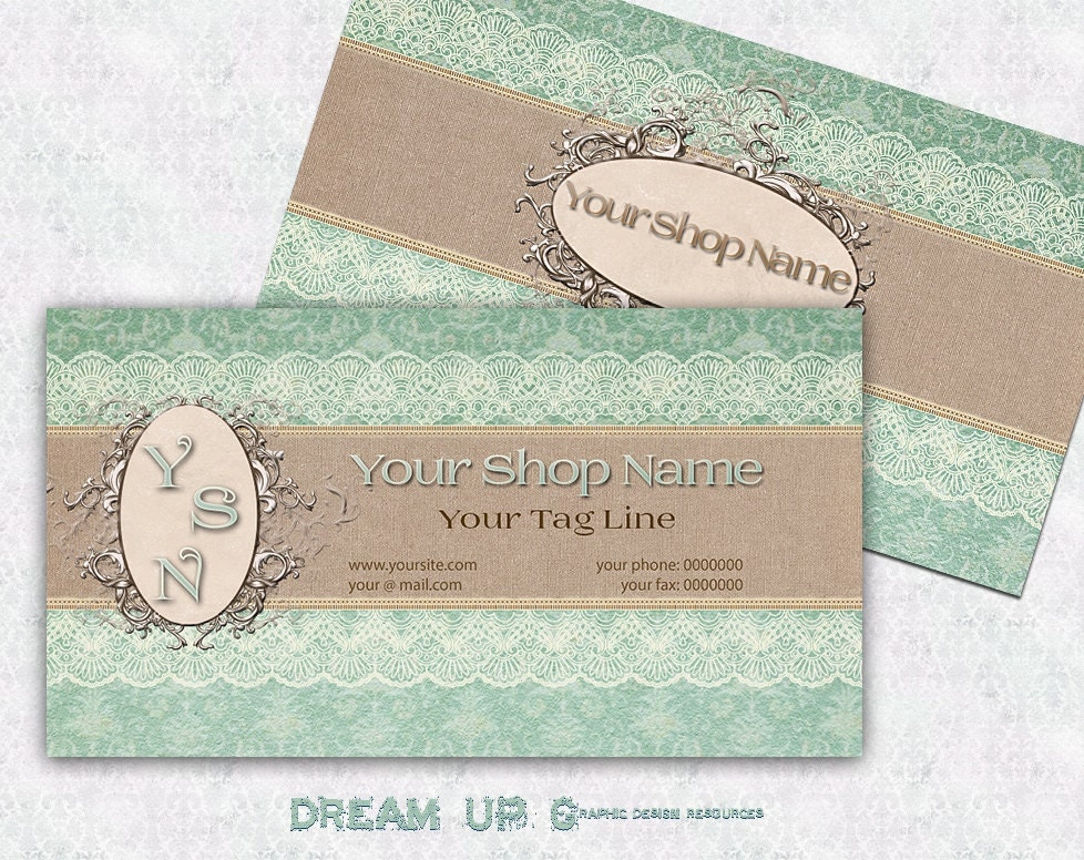 Business Card SHABBY CHIC Design Vintage Premade Business