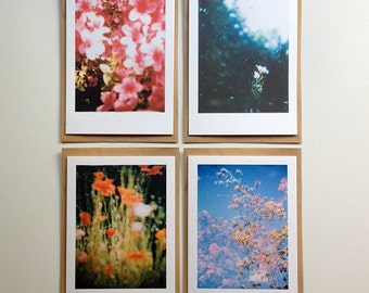 Set of 4 instant photography cards | Instax | Flowers | Nature | Recycled paper