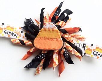 Halloween Headband -Halloween Hair Bow -Candy Corn Headband for Halloween - Halloween Photo Prop - Girls Korker Bow Headband -Candy Corn Bow