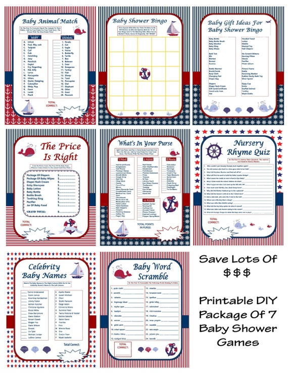 diy nautical baby shower games baby shower game package printable