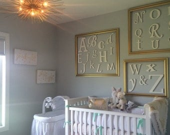 Painted White Wooden Wall Letters, Wooden Alphabet Letters, ABC Nursery Decor, Wall Decor, Daycare Wall Art, Hanging Wall Alphabet Letters