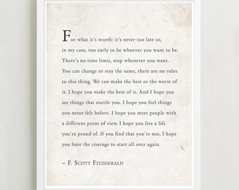 F. Scott Fitzgerald Quote, For What It's Worth, Quote Print, Typography Print, I hope you live a life you're proud of