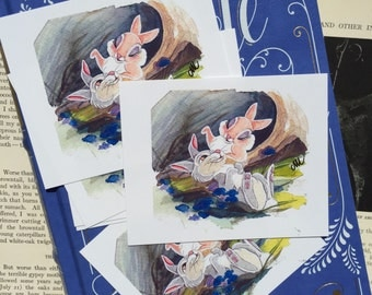 "Bunnies 4x4"" fine art quality print on lustre paper."