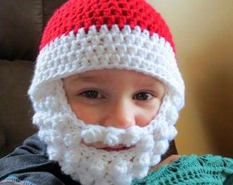 Santa Beard Hat with Detachable beard - Crochet Santa bearded beanie - crochet beard hat - Santa beard - Santa hat - bearded hat