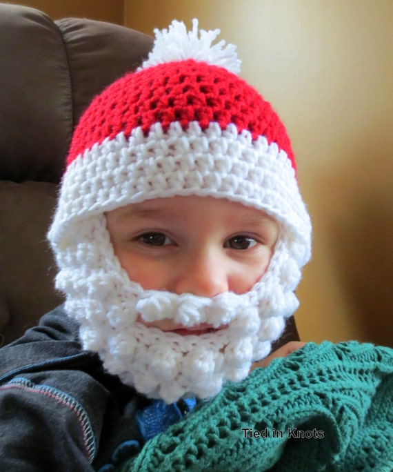 Crochet Pattern For Baby Hat With Beard : Santa Beard Hat with Detachable beard Crochet Santa bearded