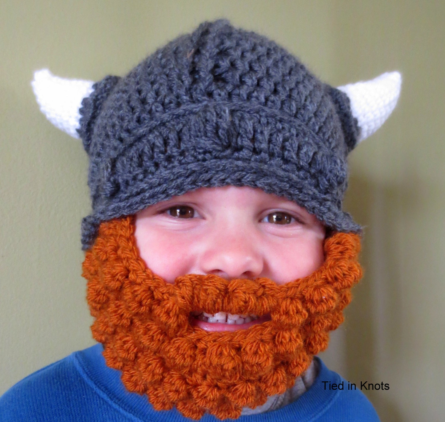 Crochet Viking Hat With Beard : Baby Viking Hat with Beard Crochet Baby by TiedinKnotsCrochet