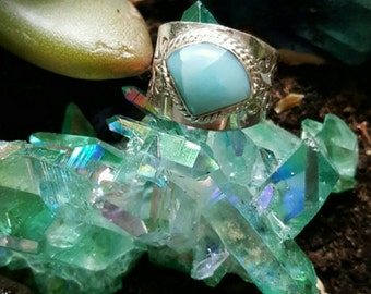 Larimar ring size 6 sterling silver