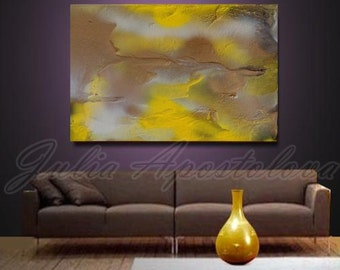 Summer Painting, Yellow Abstract Art, Gold Print, Large Wall Art, Huge Painting, Copper art, Yellow Home Decor, Landscape Abstract, Print