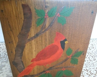 Vintage Tole Painted Wooden Wall Box