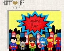 SUPERHERO Friends Wall Art- PRINTABLE- Superhero Room Decor- Personalized- Superhero Sign- Playroom Art- Superhero Art- Boys Wall Art