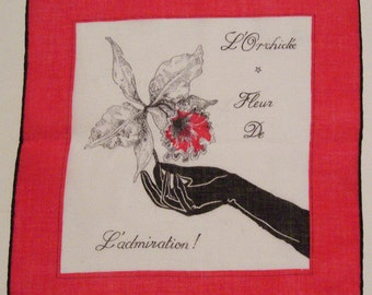 Vintage Lady Hand Holding an Orchid Flower Hankie