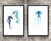 Set of 2, Jellyfish and Seahorses, Oceanic Life Painting, Nautical Creatures Illustration, Blue home decor