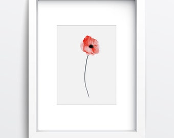 Poppy Abstract Flower, Watercolor Painting, Red Home Decor, Flowers Gift Idea, Poppies Poster