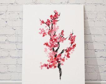 Cherry Blossom Flowers Watercolor Painting, Japanese Home Decor, Sakura Poster, Abstract Flower Art Print