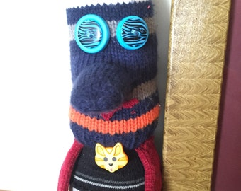 Stuffed Sock Critter; Quirky Handmade Sock Animal Made from Recycled Materials ; OOAK; (Chuck)