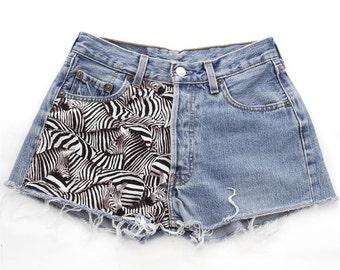 Vintage Levi 501 Zebra Denim Shorts 29 31 32 Waist- www.brickvintage.com