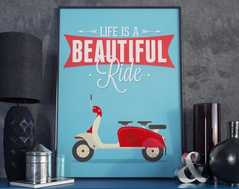 A3 Poster. Scooter / Moped Print.