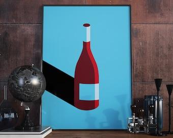 Wine Bottle, Wine Design, Print. A3 Poster.