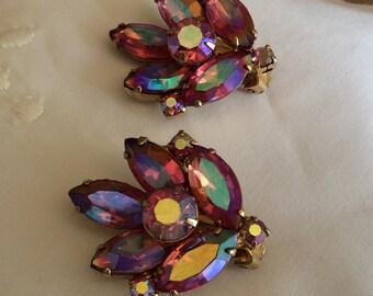 Vintage Aurora Borealis Leaf Rhinestone Clip Earrings