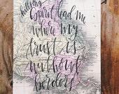Worship music art, Hillsong oceans, hand painted map, gift for missionary, worship team leader, spirit lead me, christian gift