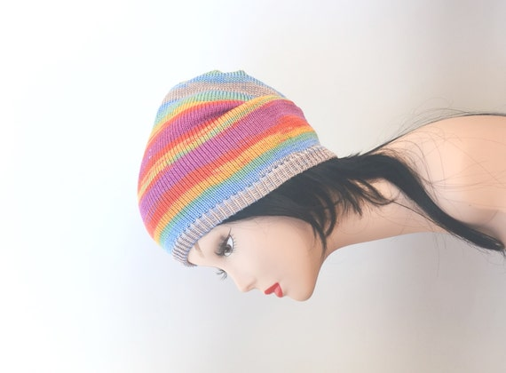 colorful knit summer beanie hat slouchy by handmadelana