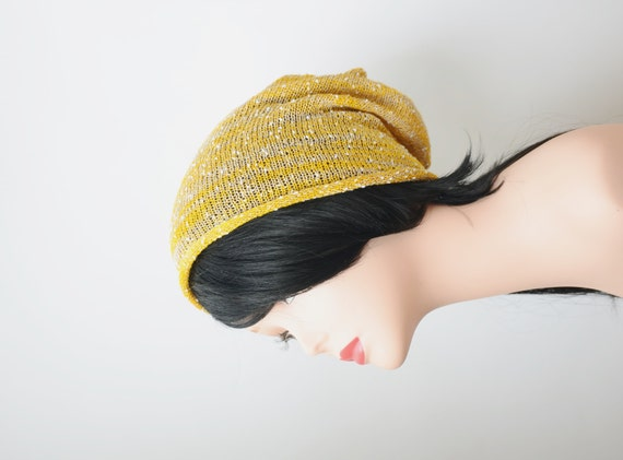 summer yellow cotton knit slouchy beanie hat by handmadelana