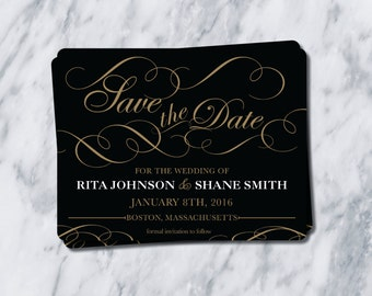 Fancy Wedding Save the date/ black and gold