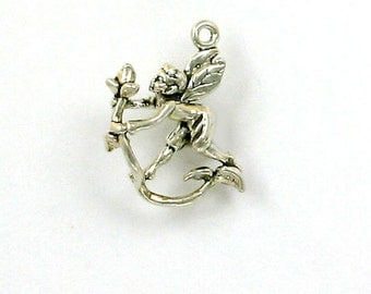 Sterling Silver 3-D Fairy with a Rose Charm