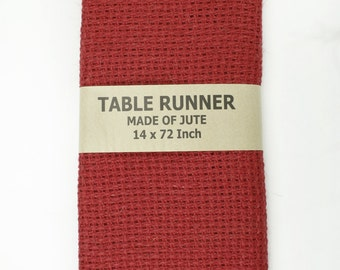 Red Burlap Double Stitched Table Runner, thicker weave, unique, rustic, primitive, weddings, events, events, parties (BHT-R11)
