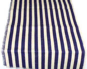 "Striped Burlap Long Runner 23"" x 108"" Navy Blue and Ivory rustic, weddings, beach, fringe catering, home decor, nautical theme(BS-L133)"