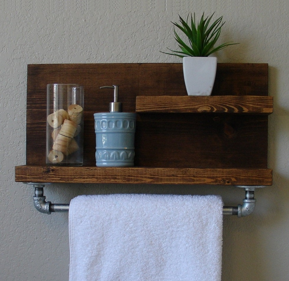 Industrial Rustic Modern 2 Tier Wall Shelf Bathroom By KeoDecor