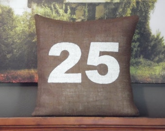 Custom made rustic country brown burlap and white (or custom color) personalized number pillow cover/sham. Custom sizes and color option