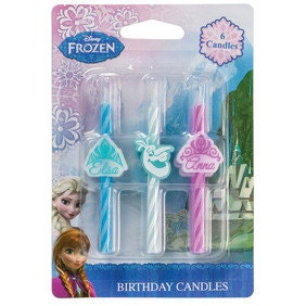 Set of 6 Disney Frozen Icon Candles Birthday Cake Toppers