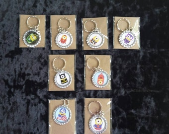 Set of 8 adorable super hero minion inspired bottle cap necklace /bottle cap Keychain birthday party  favors