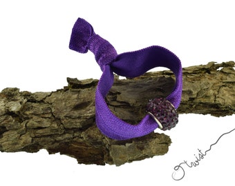 Elegant Hair Tie Ponytail Holder in Violet with Elegant Hair Tie Violet Crystal Bead that doubles as Bracelet - Elastic Bracelet by O twist