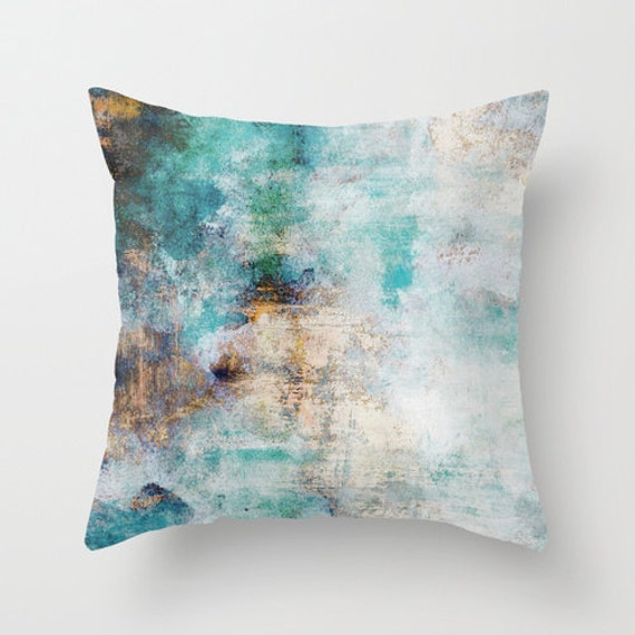 Abstract throw pillow cover colorful teal gold blue beige for Beige and gold pillows