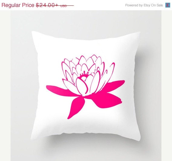ON SALE Lotus Throw Pillow Hot Pink Lilac Coral by HLBhomedesigns