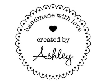 "CUSTOM HANDMADE with LOVE rubber stamp - personalized stamp, stationary stamp, envelope stamp, card stamp, tag stamp, 1.8""x1.8"" (CHM5)"
