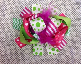 Lime and Pink Boutique Clip 6inch